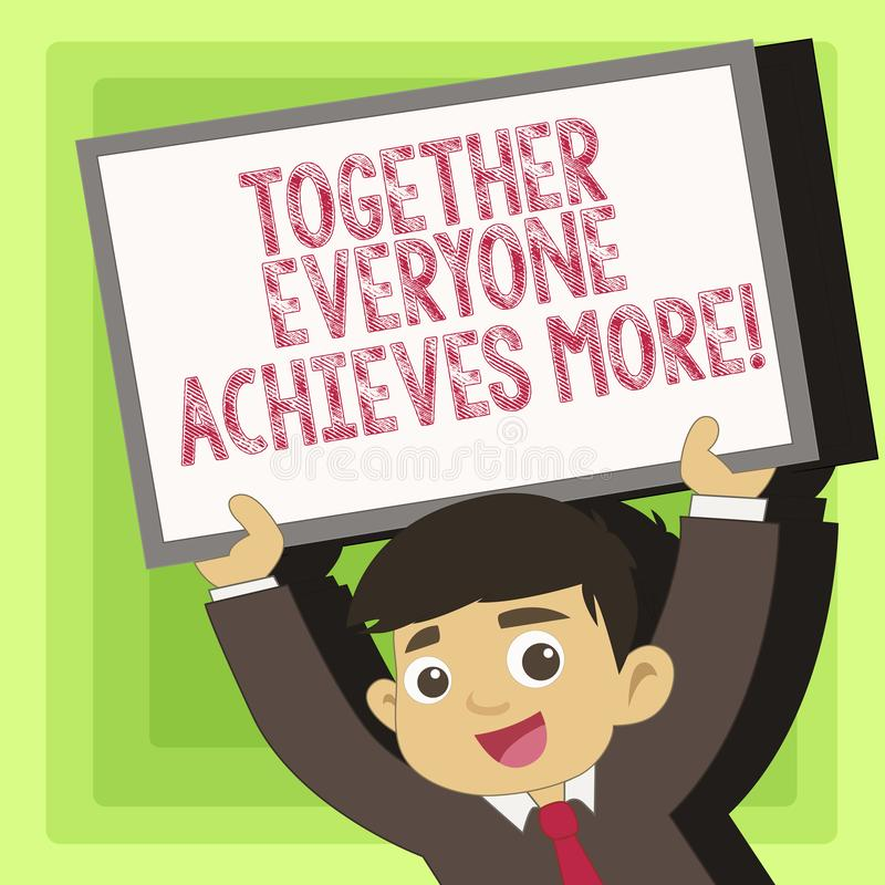 Le texte d'écriture ensemble chacun réalise plus Concept signifiant la coopération de travail d'équipe pour atteindre pour acquér illustration stock