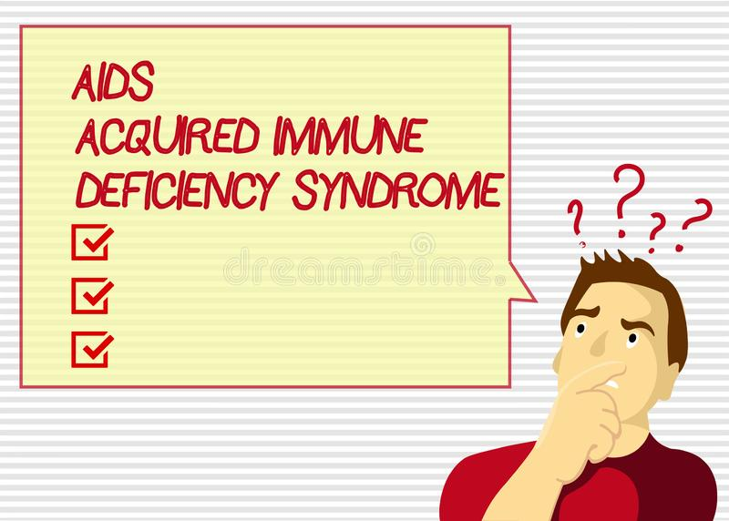 Le texte d'écriture facilite le syndrome d'immunodéficience acquise Étape sérieuse de signification de concept de la maladie d'HI illustration stock