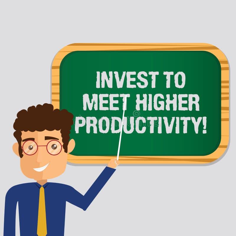 Le texte d'écriture investissent pour rencontrer une productivité plus élevée La signification de concept réalisent des investiss illustration libre de droits