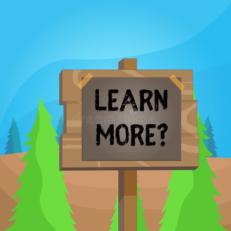 Le texte d'?criture de Word apprennent plus de question Concept d'affaires pour la connaissance ou la compétence de gain étudiant illustration stock