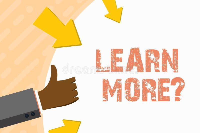 Le texte d'?criture de Word apprennent plus de question Concept d'affaires pour la connaissance ou la comp?tence de gain en ?tudi illustration stock
