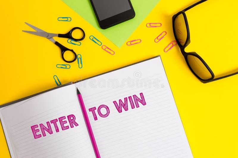 Le texte d'?criture de Word entrent pour gagner Concept d'affaires pour échanger quelque chose valeur pour le prix ou la possibil images stock