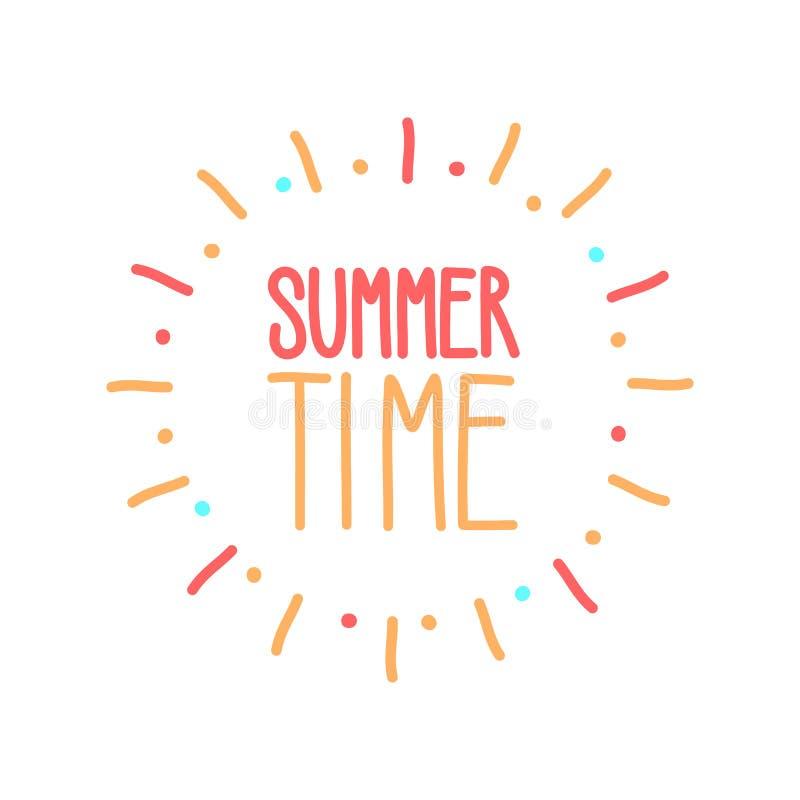 Le texte d'heure d'été avec le soleil coloré rayonne l'insigne tiré par la main de griffonnage Dirigez l'illustration d'icône pou illustration de vecteur