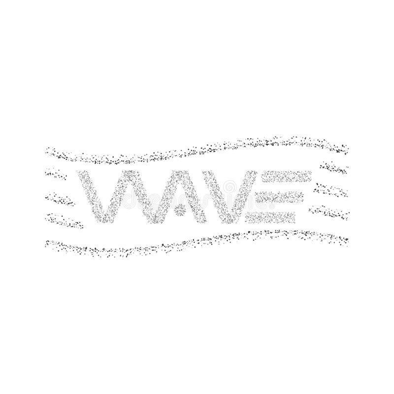 Le texte de logo de vague, maquette d'impression de T-shirt de conception graphique de particules de points, a pointillé marquer  illustration stock