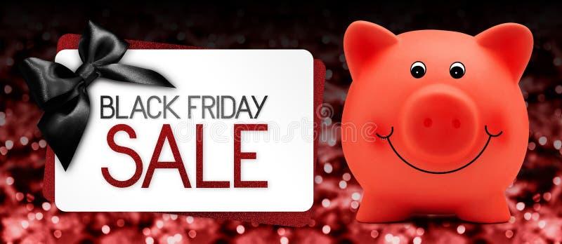 Le texte de vente de Black Friday écrivent sur le label de carte cadeaux avec b porcin rouge illustration de vecteur