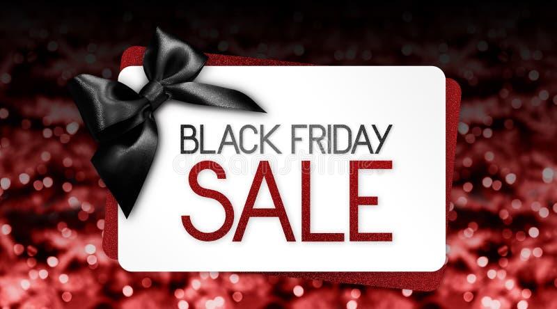 Le texte de vente de Black Friday écrivent sur le label de carte cadeaux avec le ribbo noir illustration libre de droits