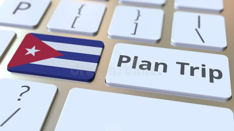 Le texte de VOYAGE de PLAN et le drapeau du Cuba sur le clavier d'ordinateur, voyage ont rapporté le rendu 3D illustration stock