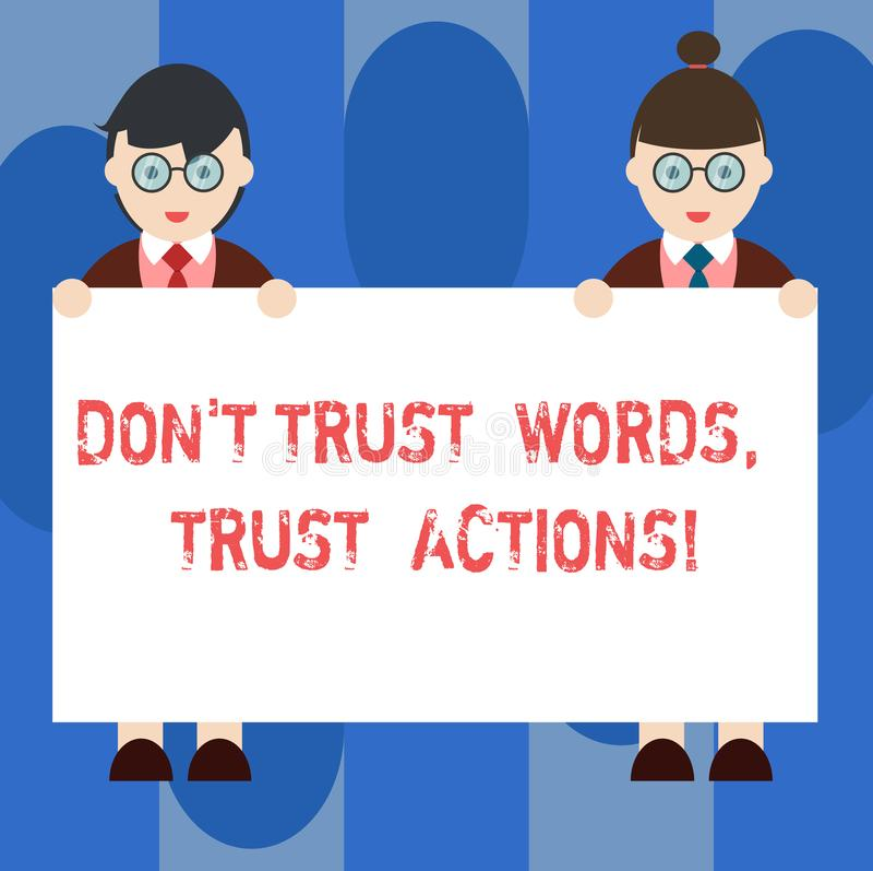 Le texte Don T d'écriture font confiance que les mots font confiance à des actions Signification de concept moins parler plus de  illustration de vecteur