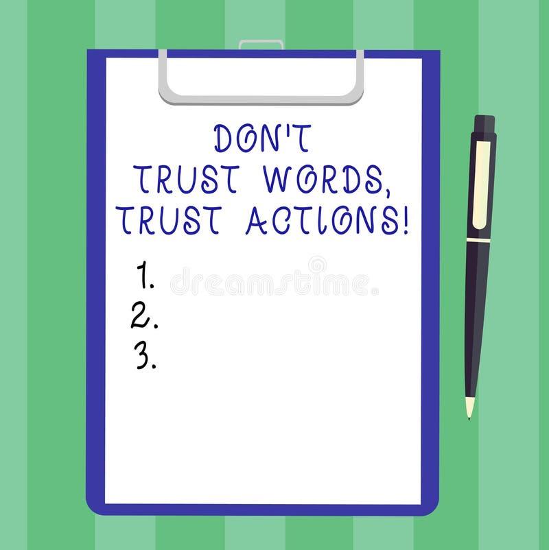 Le texte Don T d'écriture font confiance que les mots font confiance à des actions Signification de concept moins parler plus de  illustration stock