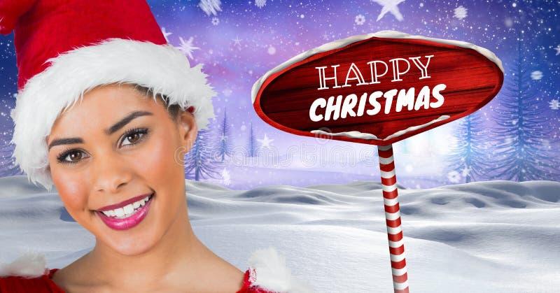 Le texte et la Santa Wooden de Noël heureux signalisent dans le paysage d'hiver de Noël illustration de vecteur