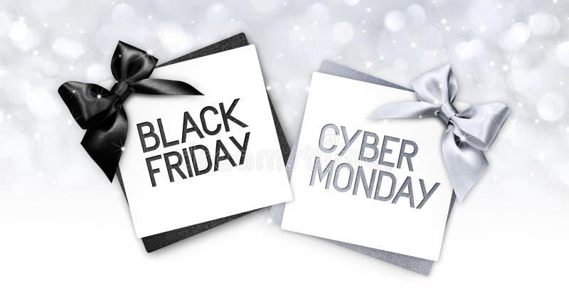 Le texte noir de vendredi et de lundi de cyberg écrivent sur l'esprit de label de carte cadeaux illustration stock