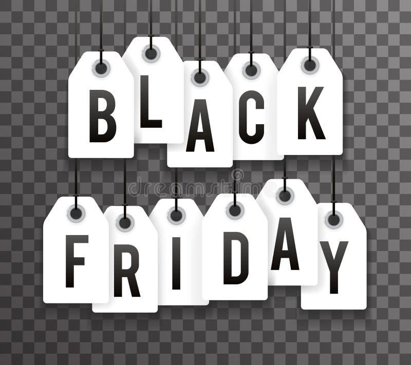 Le texte noir de vente des prix de vendredi marque l'illustration transperent de vecteur de fond illustration stock