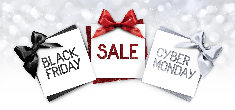 Le texte noir de vente de vendredi et de lundi de cyberg écrivent sur le labe de carte cadeaux illustration stock