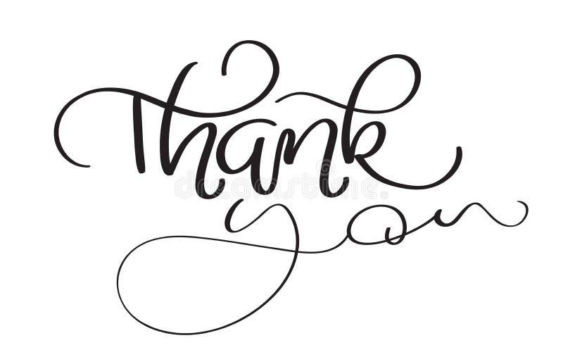 Le texte tiré par la main de vecteur de vintage vous remercient sur le fond blanc Illustration EPS10 de lettrage de calligraphie illustration libre de droits