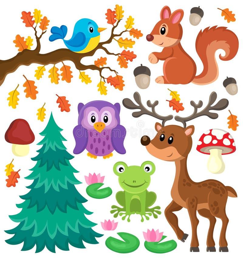 Le thème d'animaux de forêt a placé 1 illustration de vecteur