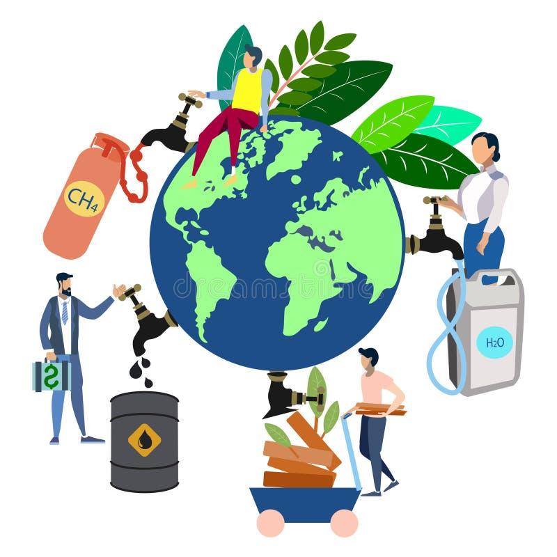 Le thème de l'écologie, les gens emportent toutes les ressources en terre de planète Dans le style minimaliste Vecteur plat de ba illustration libre de droits