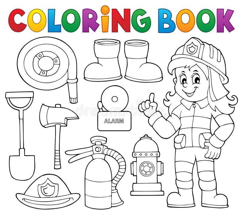 Le thème de sapeur-pompier de livre de coloriage a placé 1 illustration stock
