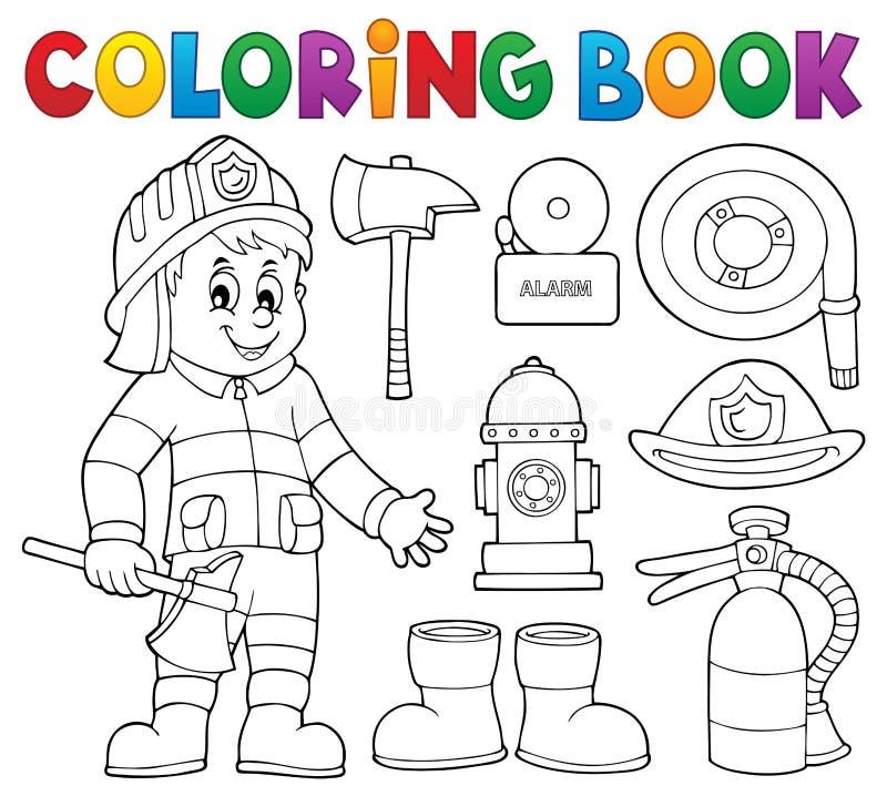 Le thème de sapeur-pompier de livre de coloriage a placé 2 illustration stock