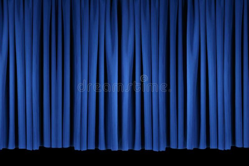 Le théâtre bleu d'étape drape le Lit avec Stagelights illustration libre de droits