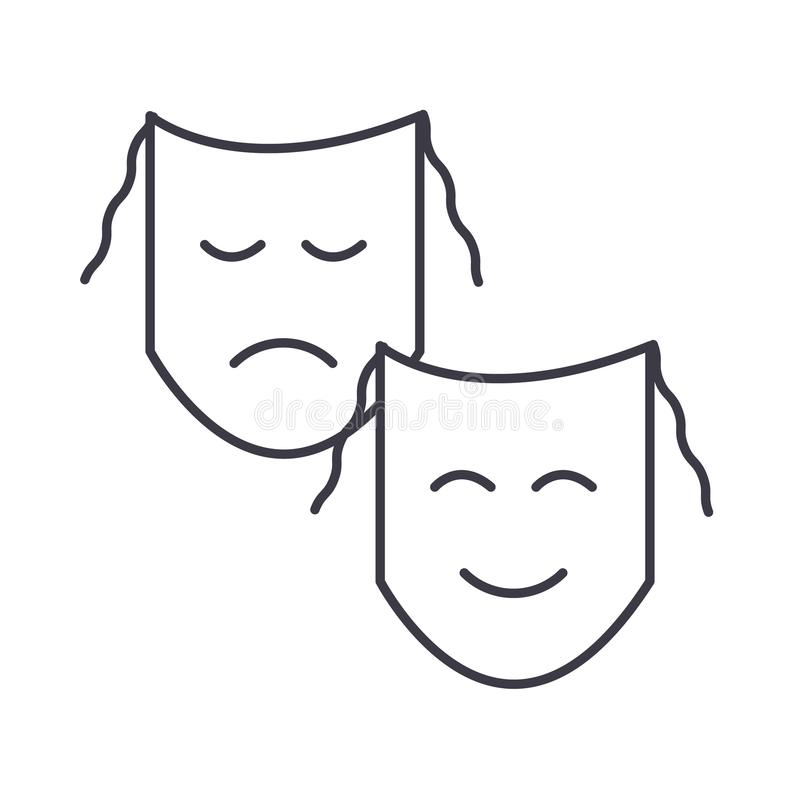 Le théâtre, masques montrent la ligne icône, le signe, illustration de vecteur sur le fond, courses editable illustration de vecteur