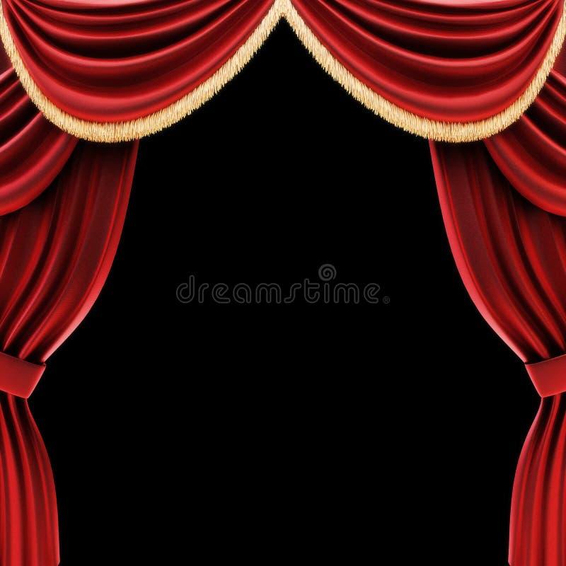 Le théâtre ouvert drape ou les rideaux en étape illustration de vecteur