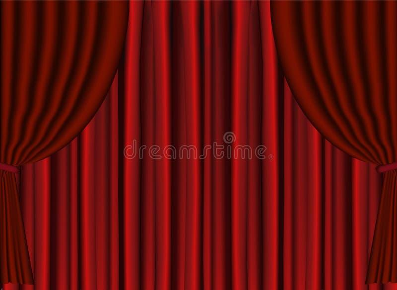 Le théâtre rouge d'étape de vecteur drapent illustration libre de droits
