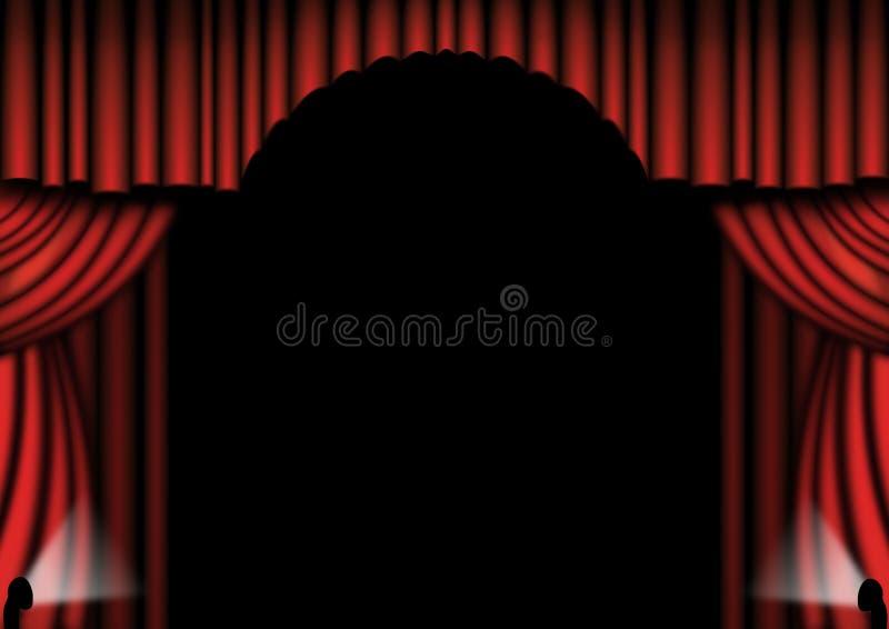 Le théâtre rouge drape illustration stock