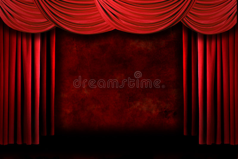 Le théâtre sale rouge d'étape drape avec Ligh excessif illustration libre de droits