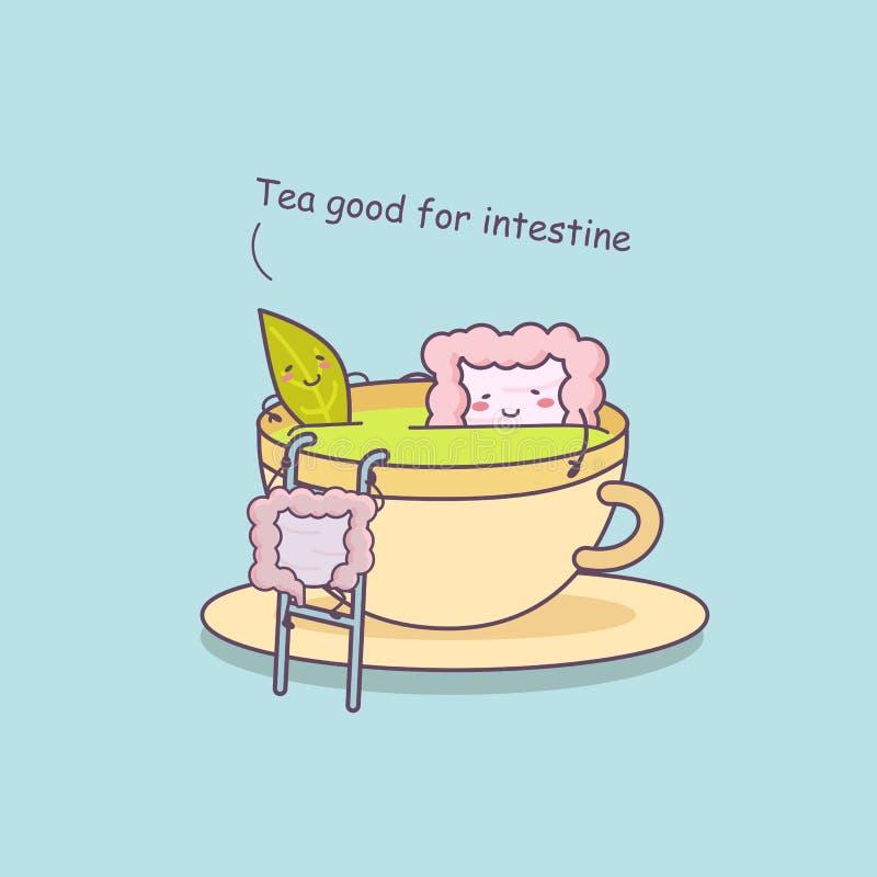 Le thé est bon pour l'intestin illustration de vecteur