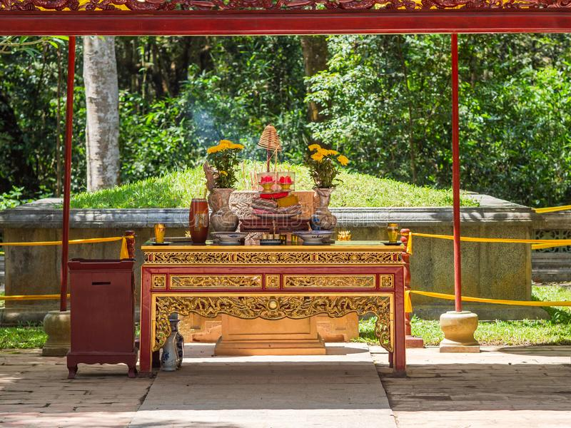 The Le Thai To mausoleum in Thanh Hoa, Vietnam. The Le Thai To mausoleum at Lam Kinh temple in Xuan Lam and Lam Son townlet of Tho Xuan district, Thanh Hoa stock photo