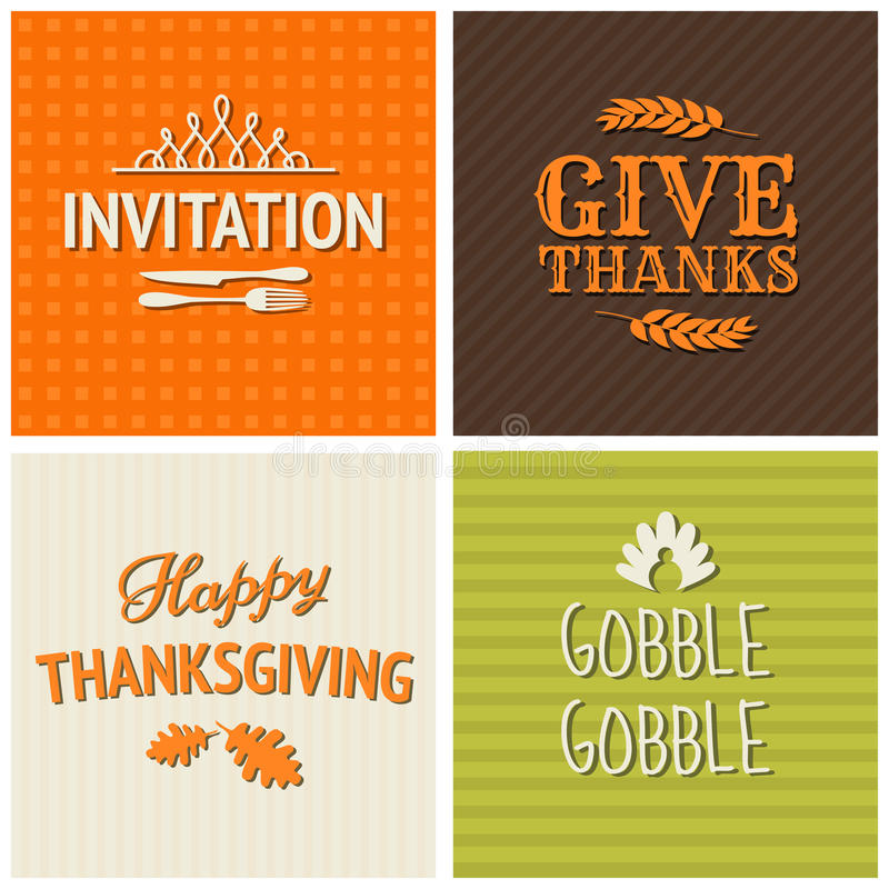 Le thanksgiving carde la collection illustration stock