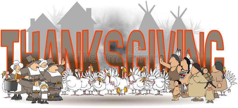 Le thanksgiving de mot avec des natifs américains et des pèlerins illustration libre de droits
