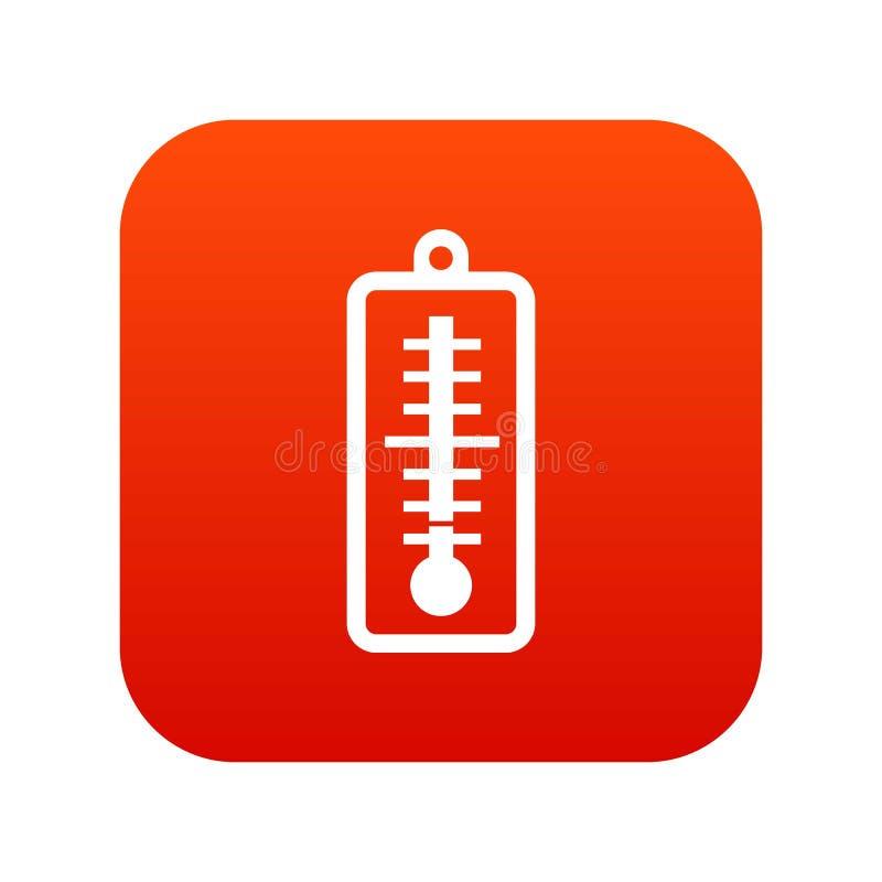 Le thermomètre indique le rouge numérique d'icône de basse température illustration libre de droits