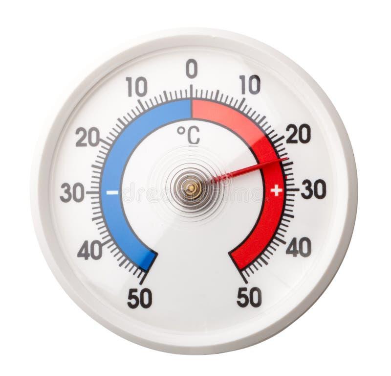 Le thermomètre montre le confort à la température ambiante plus 24 degrés Celsius sur le wh image libre de droits