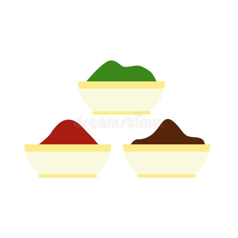 Le tika coloré saupoudre l'icône, style plat illustration libre de droits