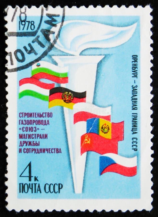 Le timbre de courrier imprimé dans des expositions de l'URSS incendient, vers 1978 image stock