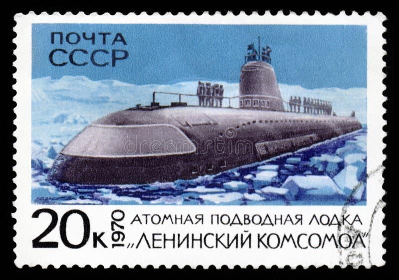 Le timbre de courrier de l'URSS montre le sous-marin atomique photo libre de droits