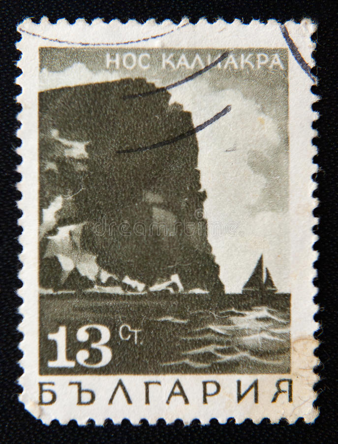 Le timbre de la BULGARIE montre le cap de Kaliakra, vers 1975 photo stock