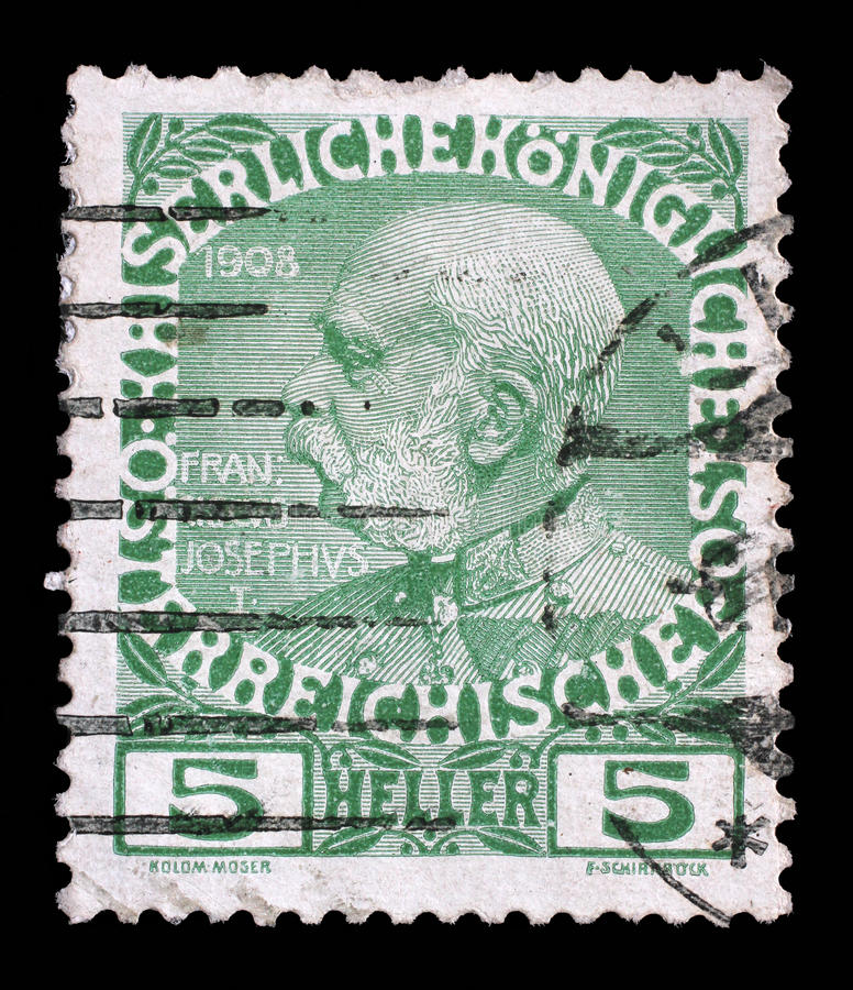 Le timbre a imprimé en Autriche du soixantième anniversaire du règne de l'empereur Franz Josef I photographie stock libre de droits