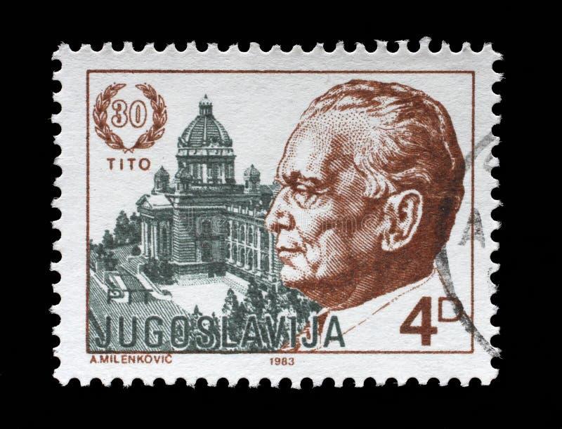 Le timbre imprimé par la Yougoslavie a consacré aux 1983 le 30ème anniversaire de l'élection du Président Josip Bro Tito image libre de droits