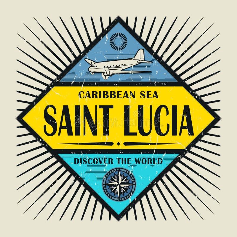 Le timbre ou la Sainte-Lucie des textes d'emblème de vintage, découvrent le monde illustration de vecteur