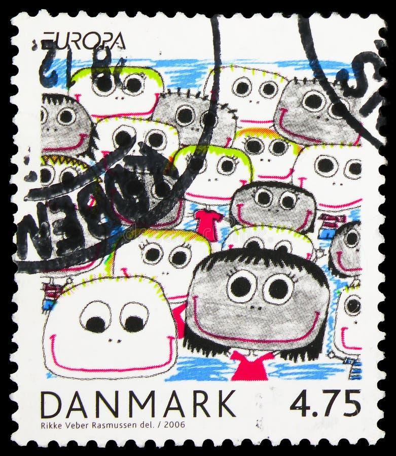 Le timbre-poste imprimé au Danemark montre Intégration - Du point de vue des enfants et des jeunes, Europa (C E P T ), série, photos libres de droits