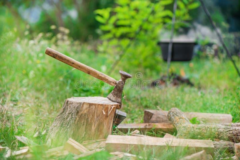 Le tir déprimé de la hache a coupé dans un tronçon sur le fond vert de campagne et de forêt images stock