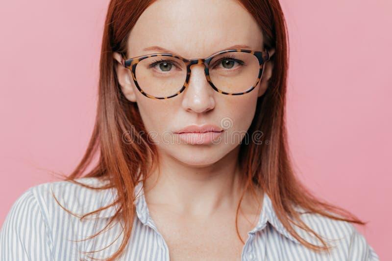 Le tir haut étroit du beau modèle femelle porte de grandes lunettes optiques, a les cheveux bruns, regarde sérieusement avec l'ex photographie stock libre de droits