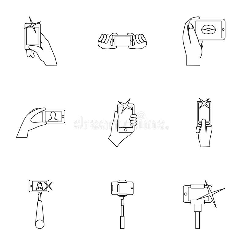 Le tir sur des icônes de téléphone portable a placé, décrit le style illustration libre de droits