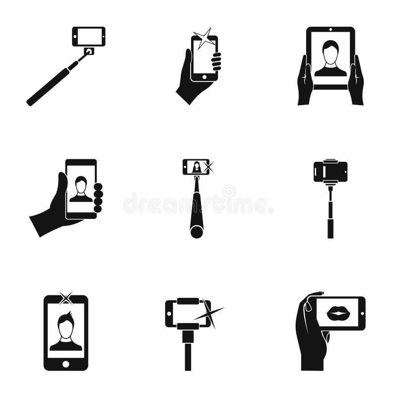 Le tir sur des icônes de téléphone portable a placé, style simple illustration de vecteur