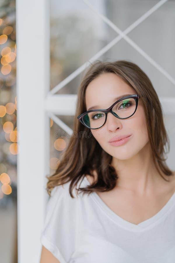 Le tir vertical de la femme avec du charme en verres optiques, habillé en passant, pose d'intérieur contre l'arbre de Christams,  photographie stock