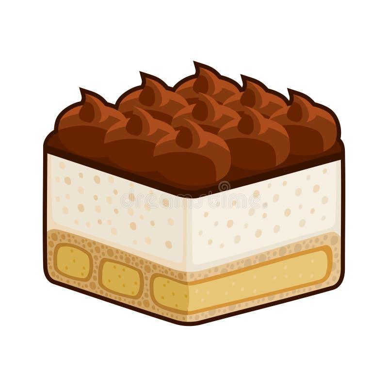 Le tiramisu de dessert avec Amaretto a isolé sur le blanc. Vecteur illustration libre de droits