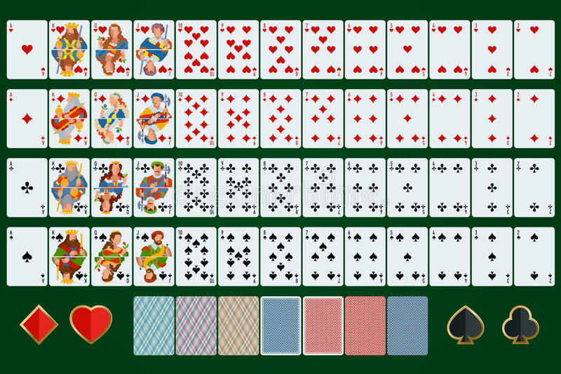 Le tisonnier carde l'ensemble complet Conception plate Tisonnier réglé avec des cartes sur le fond vert illustration de vecteur