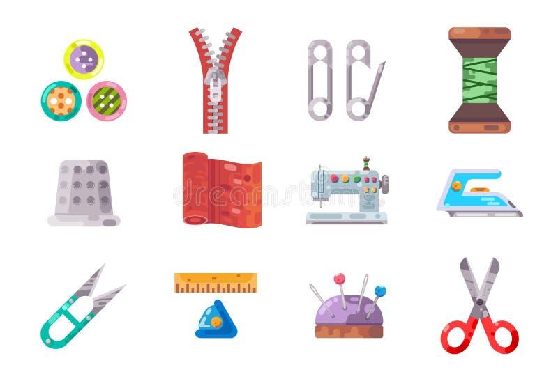 Le tissu de couture d'outils travaillant le métier cousent l'illustration d'isolement de vecteur d'ensemble d'icônes d'isolement  illustration libre de droits